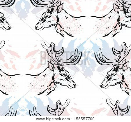 Hand drawn vector abstract mirror Christmas seamless pattern with graphic reindeers in pastel colors isolated on white background.Winter holidays pattern concept.Christmas fashion pattern.