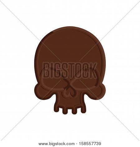 Chocolate Skull. Sweet Skeleton Head. Scary Confection For Halloween