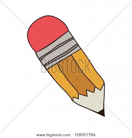 silhouette colorful of small pencil with eraser vector illustration