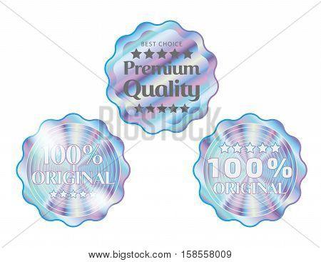 Holographic set round wave shapes illustration sticker quality emblem