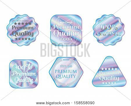 Holographic set stickers illustration template quality emblem