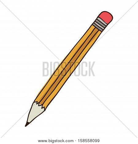 silhouette colorful of pencil with eraser vector illustration