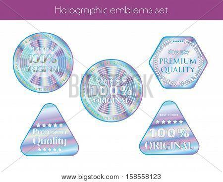 Holographic set templates illustration sticker quality emblem