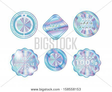 Holographic collection shapes illustration sticker quality emblem