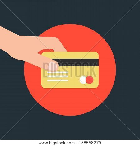 hand holding credit card in red circle. concept of e-commerce, earnings, atm, debt, swipe, deposit, terminal, identification, expend, shopper. flat style trend modern design vector illustration