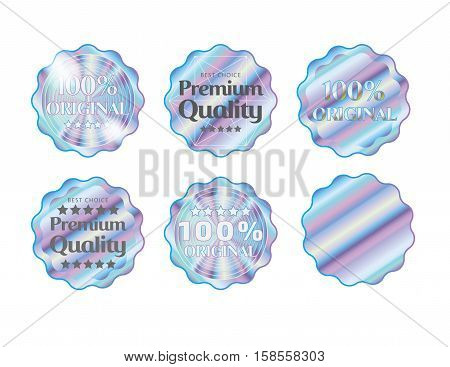 Holographic set shapes illustration sticker quality emblem
