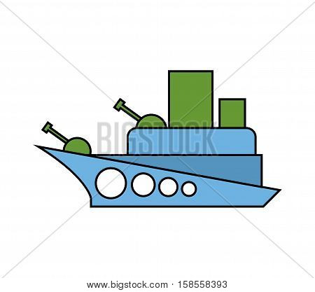 Warship Childs Drawing Style. Military Combat Boat Isolated