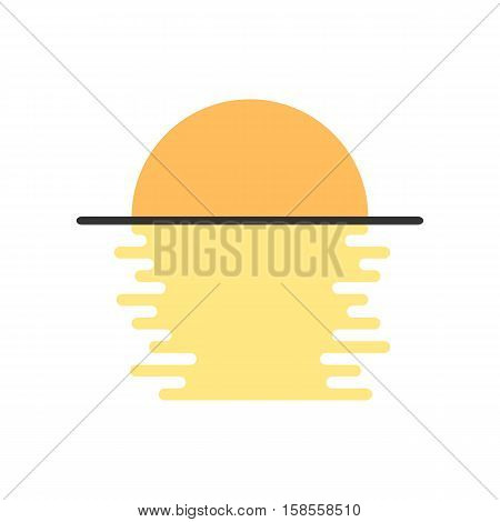 simple moon light on the water. concept of moonlit, reflect, shining, moonrise, satellite, morning, sunrise. isolated on white background. flat style modern logotype design vector illustration
