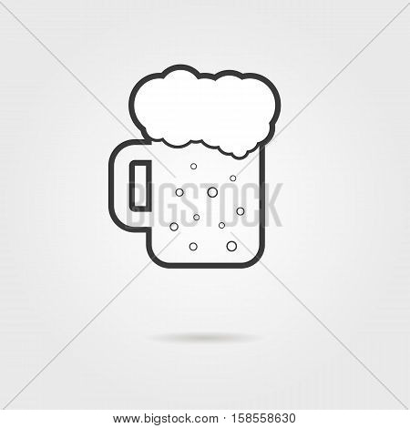 black outline glass of beer with shadow. concept of restaurant, celebrate, oktoberfest, barley, porterhouse. isolated on grey background. flat style trend modern logo design vector illustration