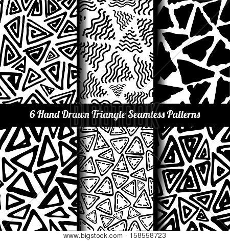 Hand Drawn Seamless Triangle Pattern With Ink Doodles. Black And White Vector Delta Background Set. Trigon Squiggle Texture Organic Geometric Design