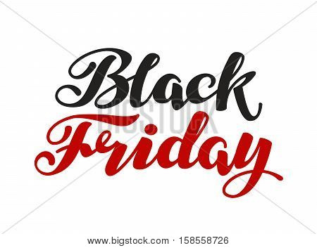 Black Friday handmade lettering. Sale vector illustration isolated on white background