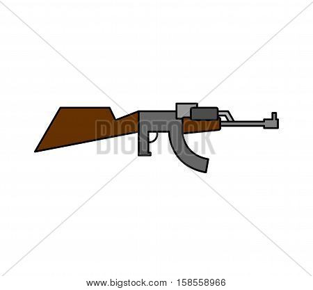 Machine Gun Childs Drawing Style. Arms On White Background. Military Rifle