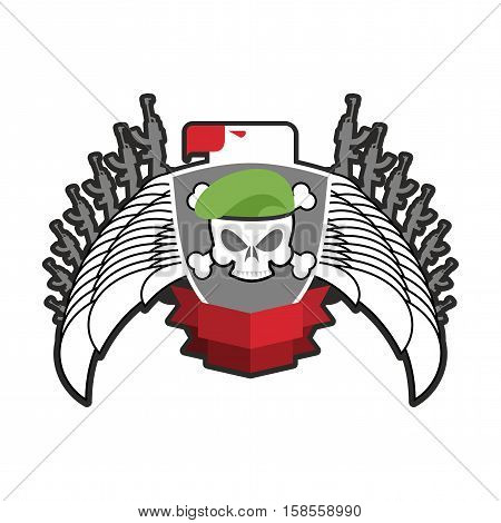 Military Emblem. Army Logo. Soldiers Badge. Skull In Beret. Wings And Weapons. Eagle And Guns. Aweso