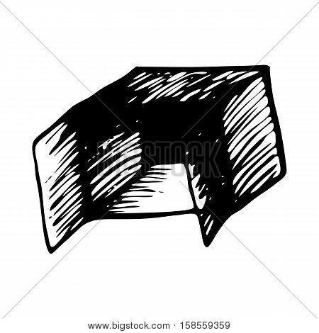 Hand drawn open box isolated on white background. Volumetric square, cube, rectangle for text space for text space, banner, advertising, mock up. Doodle package or shipping cartoon vintage style.