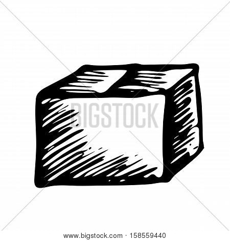 Hand drawn box isolated on white background. Volumetric square, cube, rectangle for text space for text space, banner, advertising, mock up. Doodle package or shipping cartoon vintage style.
