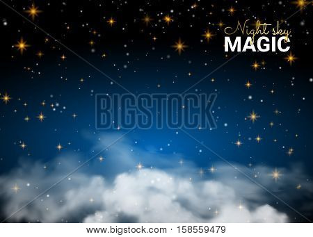 Night sky magic cloud. Holiday Shining Motion Design Card. Infinity Blue Background and Shining Stars. Vector illustration abstract background.