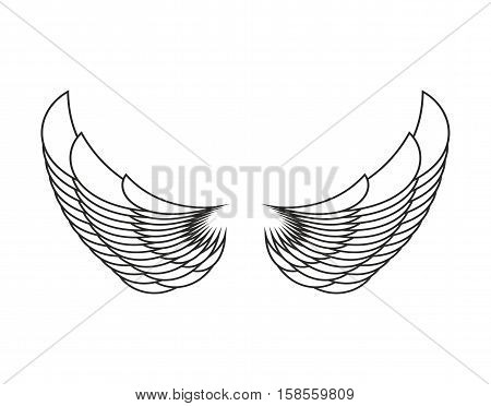 Angel Wings Isolated. White Feather Wing Of Bird
