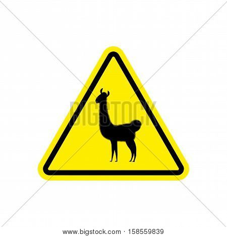 Lama Warning Sign Yellow. Llama Hazard Attention Symbol. Danger Road Sign Triangle Animal