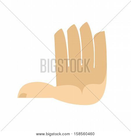 Five Fingers Hand Isolated. Palm On White Background