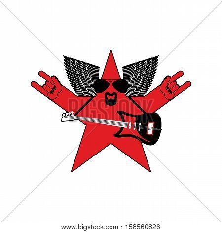 Rock Star Emblem Isolated. Guitar And Wings Symbol Of Rock Music. Hand Rock And Roll Sign