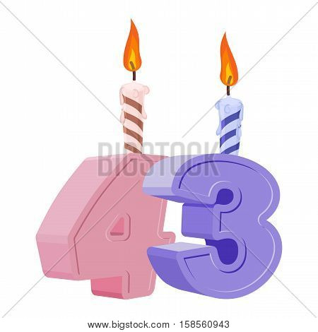 43 Years Birthday. Number With Festive Candle For Holiday Cake. Forty Three Anniversary