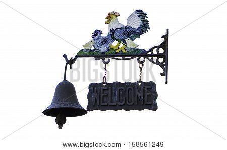 Doorbell welcome, chicken symbol bell isolate in WhiteBackground