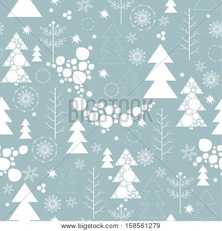 Seamless background on Merry Christmas and new year. The depicts a Christmas tree different design, tree, snowflakes and snow ball different size  on a blue background.