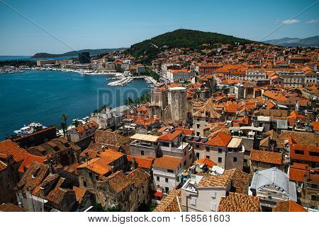 Split, Kroatien, Hafen, Altstadt, Vogelperspektive, von oben, Adria