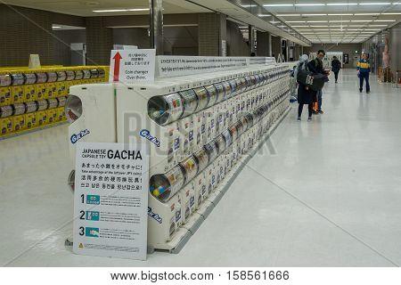 TOKYO JAPAN - NOVEMBER18, 2016: Japanese capsule toy vending machine Gachapon in Narita international airport. Gachapon is a Japanese vending machine dispensed capsule toy.