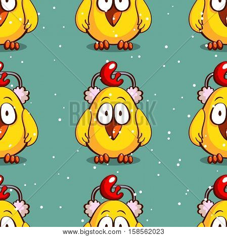 Seamless pattern made from funny cartoon chicken in earmuffs on snowy background. Vector illustration