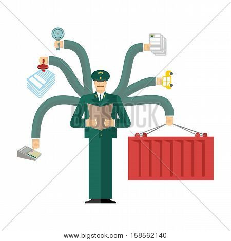 Russian Customs Service At Work. Officer Job. Checking Of Cargo. Delivery And Weighing. Declaration