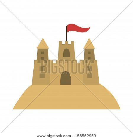 colorful sandcastle icon with flag vector illustration