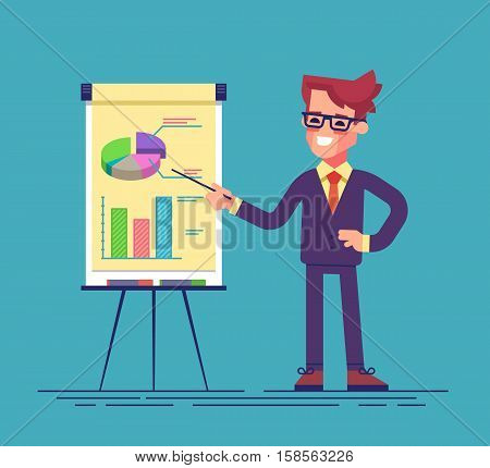 Confident young man standing near flip chart and pointing graph and diagram. Creative business concept. Vector illustration. Flat design
