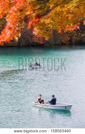 HIBARA, JAPAN - OCTOBER 23, 2016 : Autumn Leaves in Goshikinuma Lake, Fukushima, Japan