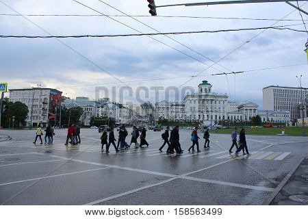 Russia, Moscow 22 May 2016, people cross the road at a pedestrian crossing on Borovitskaya Square