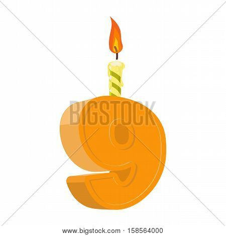 9 Years Birthday. Number With Festive Candle For Holiday Cake. Nine Anniversary