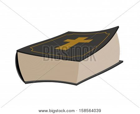 Bible Isolated. Holy Book On White Background. Psalms With Cross
