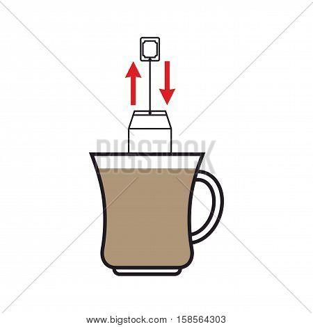 Brew Tea. Dunk Teabag In Mug Instruction
