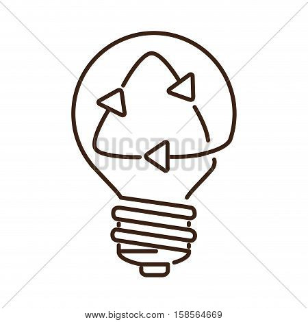 silhouette light bulb flat icon with recyled sign vector illustration