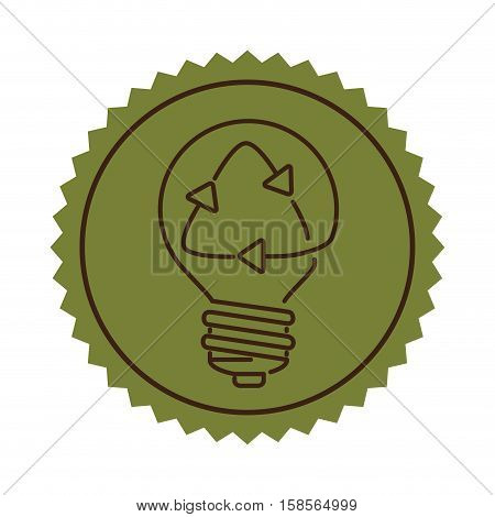 stamp silhouette light bulb flat icon with recyled sign vector illustration