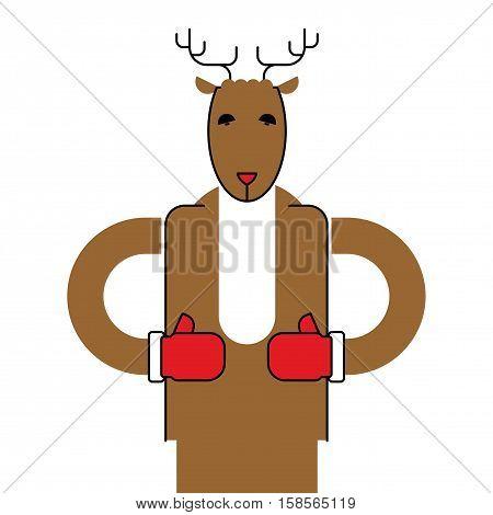 Deer Santa Isolated. Christmas Animal. Beast For New Year