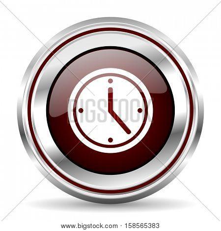 time icon chrome border round web button silver metallic pushbutton