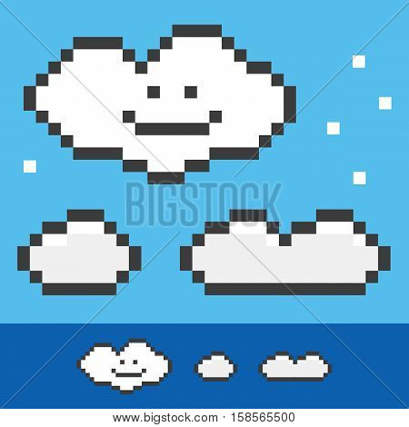 Retro 8-bit pixel clouds set, collection on blue background.