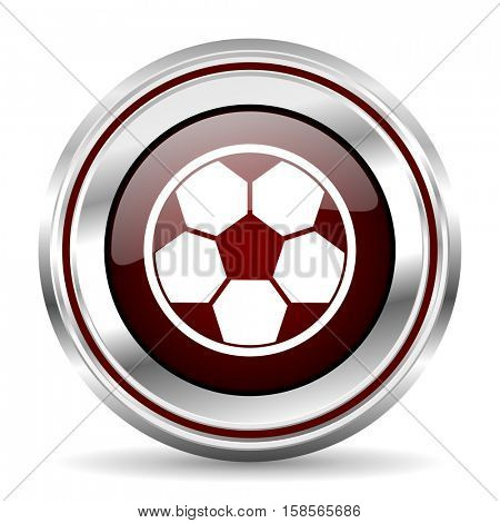 soccer icon chrome border round web button silver metallic pushbutton
