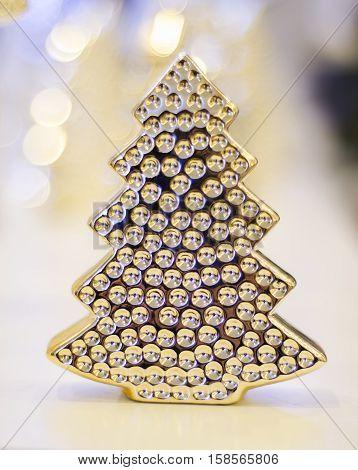 Beautiful Christmas tree made of glass. Christmas decoration