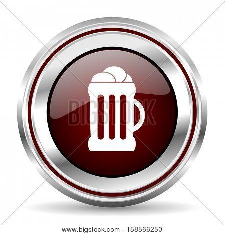 beer icon chrome border round web button silver metallic pushbutton