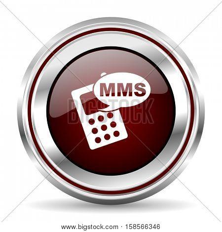 mms icon chrome border round web button silver metallic pushbutton