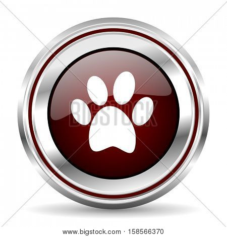 foot icon chrome border round web button silver metallic pushbutton