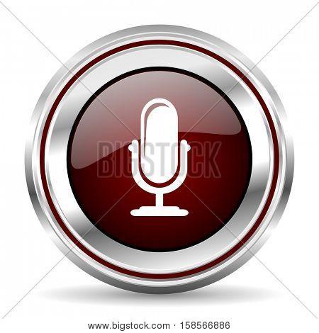 microphone icon chrome border round web button silver metallic pushbutton