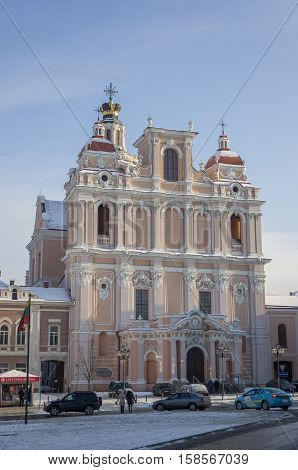 Vilnius, Lithuania - January 4, 2016: Church of St. Casimir is a Roman Catholic church in Vilnius' Old Town close to the Vilnius' Town Hall. It is the first and the oldest baroque church in Vilnius